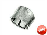 Finejewelers Rhodium Plated Textured Stardust Bright Cut 14 mm Wide Concave Ring style: 460287