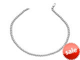 Rhodium Plated 18 Inch Round Bead Necklace with Lobster Clasp style: 460312