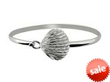 925 Sterling Silver 7 Inch Flat Dome Bangle with Damond Cut Shell Top style: 460326