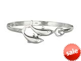 Finejewelers 925 Sterling Silver 7.5 Inch Dome Bangle with Two Dolphin Top style: 460348