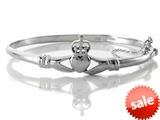 Finejewelers 925 Sterling Silver Claddagh Bangle 7 inches with Safety Chain style: 460357
