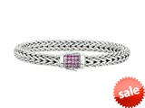 "Phillip Gavriel 7mm Sterling Silver with Pink Sapphire Wide Wheat Patterned 8.25"" Bracelet style: 460363"