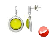 "Sterling Silver Light Green Round Simulated Cat""s Eye Drop Earrings style: 460369"