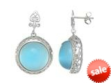 "Sterling Silver Light Blue Round Simulated Cat""s Eye Drop Earrings style: 460374"