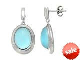 "Sterling Silver Light Blue Oval Simulated Cat""s Eye Drop Earrings style: 460375"