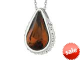 Sterling Silver 1.1mm Cable Chain Link Simulated Smokey Quartz Teardrop Ladies Pendant style: 460379