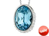 Sterling Silver 1.1mm Cable Chain Link Simulated Aquamarine Oval Ladies Pendant style: 460382