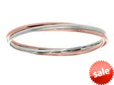 Sterling Silver and Rose Finish Shiny Stardust Textured Slip On Bangle style: 460400