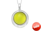"Sterling Silver Green Round Simulated Cat""s Eye Ladies Pendant style: 460416"