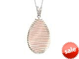"Sterling Silver with Rose Finish Shiny Diamond Cut Bird""s Nest Teardrop Ladies Pendant style: 460419"