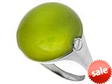 "Sterling Silver Green Round Simulated Cat""s Eye Ladies Ring style: 460422"