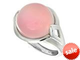 "Sterling Silver Pink Round Simulated Cat""s Eye Ladies Ring style: 460423"