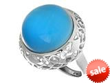 "Sterling Silver Blue Round Simulated Cat""s Eye Ladies Ring style: 460425"