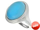 "Sterling Silver Blue Oval Simulated Cat""s Eye Ladies Ring style: 460426"