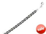 """Sterling Silver 8.5"""" Shiny 6.85mm bright-cut Double Curb Fancy Link Mens Bracelet style: 460438"""