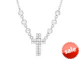 "Finejewelers Sterling Silver Cross with Cubic Zirconia (CZ""s) Ladies Necklace style: 460456"