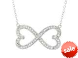 "Sterling Silver Infinity Hearts with CZ""s Shiny Cable Ladies Necklace style: 460461"