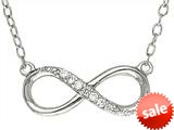 """Finejewelers Sterling Silver Infinity With CZ""""s Shiny Cable Ladies Necklace style: 460462"""