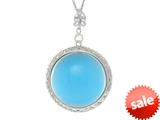 "Sterling Silver Blue Round Simulated Cat""s Eye Ladies Pendant style: 460466"