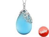 "Finejewelers Sterling Silver Blue Simulated Cat""s Eye Ladies Pendant Necklace style: 460467"