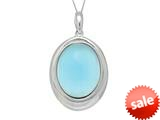 "Sterling Silver Light Blue Oval Simulated Cat""s Eye Ladies Pendant style: 460468"