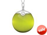 "Sterling Silver Green Round Simulated Cat""s Eye Ladies Pendant Necklace style: 460470"