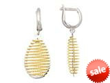 "Sterling Silver with Yellow Finish Shiny Bright Cut Bird""s Nest Teardrop Earrings style: 460473"