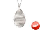 "Sterling Silver Shiny Bright Cut Bird""s Nest Teardrop Ladies Pendant Necklace style: 460475"
