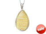 "Sterling Silver with Yellow Finish Shiny Bright Cut Bird""s Nest Teardrop Ladies Pendant Necklace style: 460476"