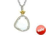 Phillip Gavriel Sterling Silver and 18k Yellow Gold Briollette Milky Rock Candy Ladies Pendant style: 460486