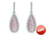 Finejewelers Silver with Rose Finish Rose Mesh Puffed Type Teardrop Earrings On Post with Butterfly Clasp style: 460491