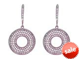 Finejewelers Silver with Rose Finish Shiny Fancy Open Circle Earrings with Cubic Zirconia (CZ) style: 460493