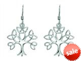 Finejewelers Silver with Rhodium Finish Shiny Trinity Tree of Life Drop Earrings style: 460496