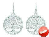Finejewelers Silver with Rhodium Finish Shiny Round Swirl Tree Of Life Drop Earrings style: 460497