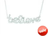 Finejewelers Silver Rhodium Finish Shiny Cable Chain Believe Pendant Necklace White Cubic Zirconia style: 460515