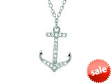 Finejewelers Silver Rhodium Finish Shiny Cable Chain Small Anchor Pendant Necklace White Cubic Zirconia style: 460517