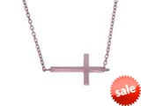 Finejewelers Silver with Rose Finish Shiny Sideways Cross Anchored On Cable Link Necklace style: 460538