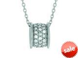 Finejewelers Silver 18 Non-Rhodium Finish Shiny Barrel Shape Slide With CZ Pendant Necklace style: 460553