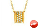 Finejewelers Silver 18 Yellow Finish Barrel Shape Slide with CZ Pendant Necklace style: 460554