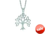 Finejewelers Silver 18 Rhodium Finish Shiny Trinity Tree Pendant Necklace style: 460559