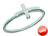 Finejewelers Silver Rhodium Finish Shiny Small Sideways Cross Ring style: 460565