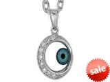 Sterling Silver 18 Inch Round Evil Eye Pendant Necklace style: 470002