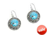 Finejewelers Sterling Silver Simulated Turquoise Round Drop Earrings style: 470006