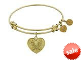 Angelica Collection Non-antique Yellow Stipple Finish Brass angelica Heart Expandable Bangle style: GEL1035