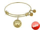 Angelica Collection Non-antique Yellow Stipple Finish Brass apple; Teach, Inspire Expandable Bangle style: GEL1036