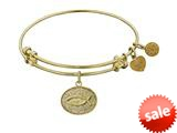 Angelica Collection Non-antique Yellow Stipple Finish Brass christian Fish Expandable Bangle style: GEL1048