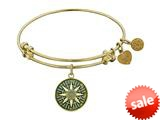 Angelica Collection Antique Yellow Smooth Finish Brass compass Expandable Bangle style: GEL1055