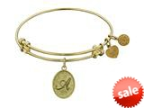 Angelica Collection Non-antique Yellow Stipple Finish Brass Initial a Expandable Bangle style: GEL1155