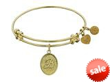 Angelica Collection Non-antique Yellow Stipple Finish Brass Initial b Expandable Bangle style: GEL1156
