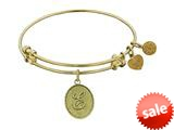 Angelica Collection Non-antique Yellow Stipple Finish Brass Initial e Expandable Bangle style: GEL1159